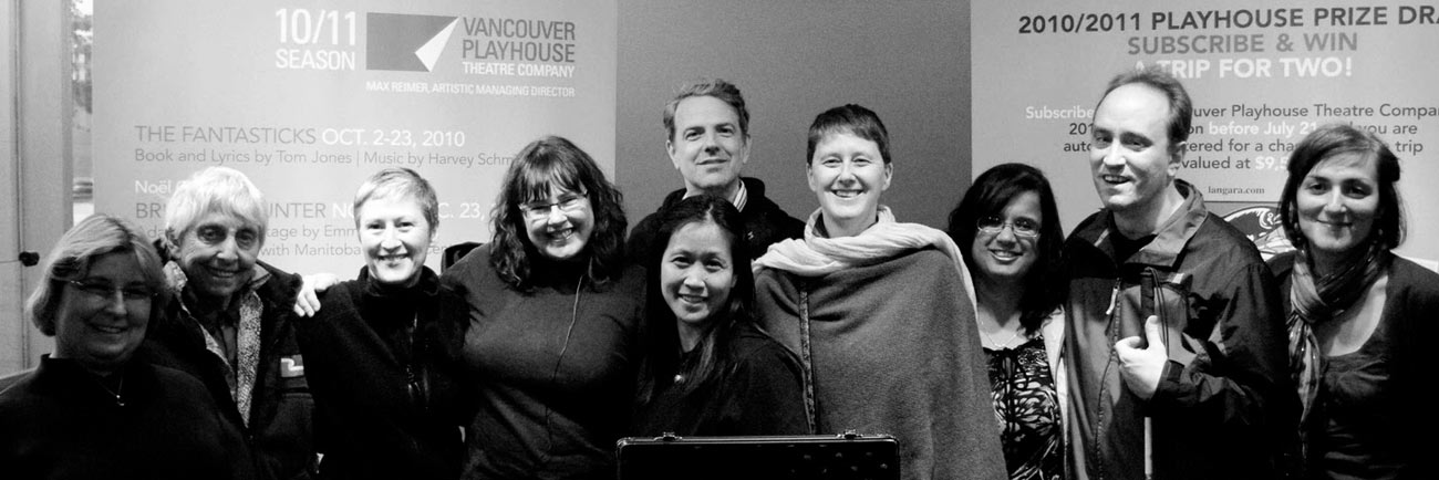 photo: LIVE DESCRIPTION – first Audio Description Team in training at the Vancouver Playhouse 2010 (Meg Towrl)