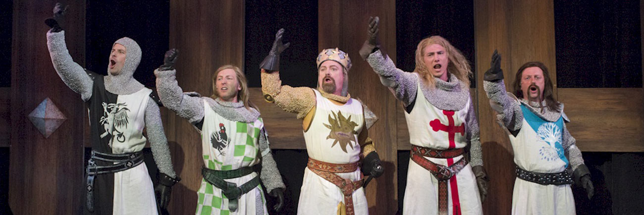 photo: the Knights of Spamalot cheering (David Cooper/Arts Club)